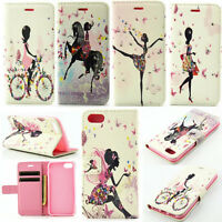 Flip Magnetic Card Wallet PU Leather Girl Case Stand Cover Skin For iPhone 5 6 7