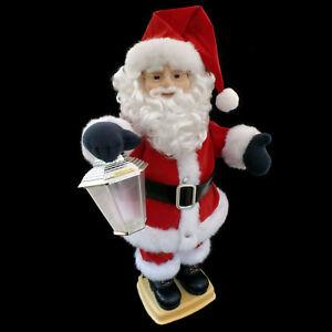 ANIMATED CHRISTMAS FIGURE / SANTA CLAUS & FLAME-EFFECT LANTERN / TELCO / 1995