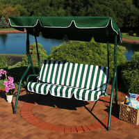 3-Person Striped Cushion Seat Outdoor Canopy Porch Patio Swing Hammock - Green