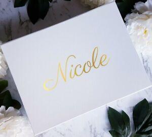 Personalised Gift Box White Luxury Magnetic Wedding Bridesmaid Keepsake Medium