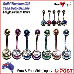 Titanium G23 Solid Banana 14ga Body Piercing Jewellery Bar Ring Belly Navel