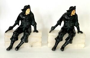 """ANTIQUE JB HIRSCH 1925 """"Pirate"""" on Marble Stone Base Bookends"""