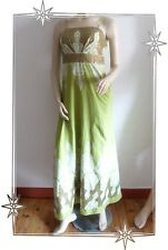 Magnifique Robe Fantaisie à Bretelles Verte Motifs et Paillettes Taille 38/ 40