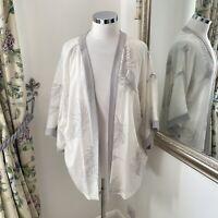 Mint Velvet Size 16 white feather print 100% silk light kimono jacket floaty top