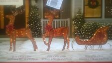 """Nib: Outdoor Holiday Decor. 90"""" long Lighted Lead-Wire & Resin Deers & Sled"""