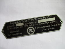 Placa de identificación escudo Oldtimer Kässbohrer Ulm autobús camiones remolque zuggabel z24/i s29