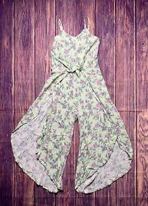 Art Class Girls Large L Green Mint Sleeveless Jumpsuit Tie-Front Floral Print