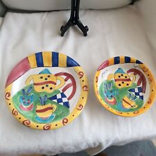 Hansen Ware 2 Piece Set Serving Plate And Bowl Bright Colors W/ Teapot Designs