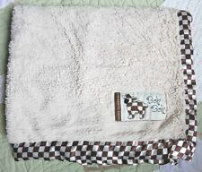 Blankets for Babies Cream Fluffy Brown Checkered Satin Edge Lamb Sheep Boh Boh