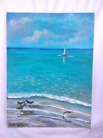 "Original Acrylic Painting  9""x12"" Canvas Panel,Beach Surf Boards Home Decor Art"