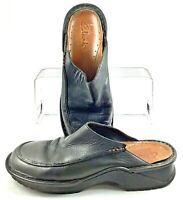 Clarks Mule Women's 8 M Black Leather Slip On Casual Slide Clog Heel Shoes 31631