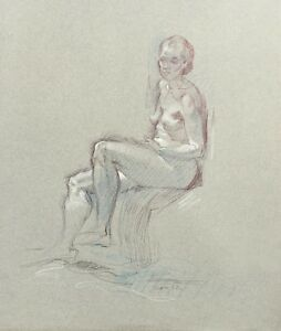 Miriam Slater larger life drawing of seated female model white highlights 1992
