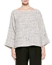 Eskandar WHITE/BLACK TWEED Cotton Viscose Bateau Neck 3/4 Sleeve Top (1) $695