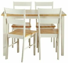 Home Chicago 114cm Solid Wood Table & 4 Chairs - Two Tone.