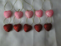 "Pkg of 10- Miniature 1"" Red & Pink Glitter Heart Valentines Day Ornaments, NEW"