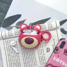 3D Strawberry Bear Headset Airpods Charge Case Cover Skin For Airpod + Ring