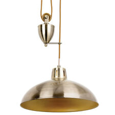Hanging Ceiling Pendant Light –ADJUSTABLE HEIGHT–Industrial Brass Rise Fall/Drop