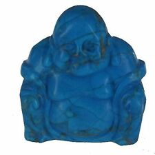 Blue Howlite Buddha Gemstone Crystal Carved Shanxing Laughing Statue Figurine
