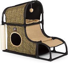 Catville Loft Cat Furniture Playhouse 2 Hideaway Leopard Print Arch Lightweight