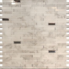 10SF-Stainless Steel Carrara White Marble Stone Mosaic Tile Backsplash Kitchen