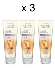 3 x  AVON Naturals Golden Apricot & Shea strand strength leave in treatment New