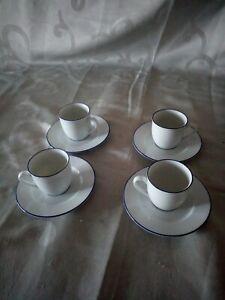 SERVICE À CAFÉ GUY DEGRÉNNE PAR 4 VINTAGE TRES BON ETAT BLEUE/BLANC CÉRAMIQUE ?
