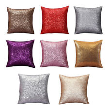 Solid color Glitter Sequins Cushion Home Decor Cushion Case (Silver) A5M3