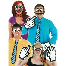 Set of 4 - Pixel 8 Character Eyes Pixelated Costume Party Halloween Mask Glasses
