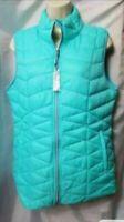 Tangerine Women New Medium Blue Sleeveless Zip Puffer Pockets Jacket Vest