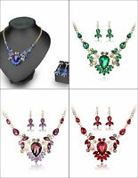 Crystal Gem rhinestone party diamante collar bib Pendant chains necklace set