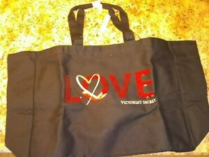 Black Victoria's Secret Tote XL Sequined VS Weekender Bag Love Bling Fabric NWT
