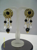 Vintage Gold Tone Ornate Round Oblong Long Dangling Clip on Earrings Glamour