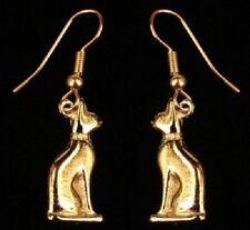 Égyptien Bastet Chat Boucles d'oreilles en or 22kt sur Fine Pewter