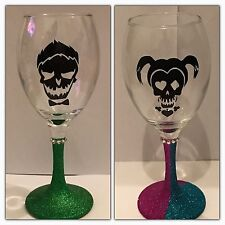 Harley Quinn Joker Glitter Wine Glass Gift Set