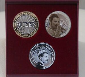 plastic box + Set of 3 coins 10 + 25 roubles Freddie Mercury. Queen