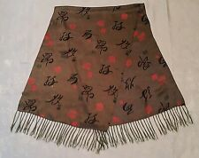VINTAGE AUTHENTIC CHINESE ART HIEROGLYPHICS GREEN SILK DOUBLE LONG MEN'S SCARF