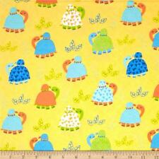 Fabric Turtles & Baby on Yellow Flannel 1 Yard S