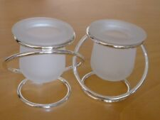 """PartyLite Silver Plate Gemini Frosted Votive Tea Lite Candle Holders 7"""" x 3.5"""""""