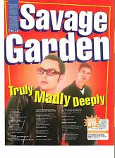SAVAGE GARDEN Truly Madly Deeply lyrics magazine PHOTO/Clipping 11x8 inches