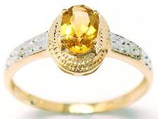 BEAUTIFUL 9KT YELLOW GOLD OVAL CITRINE & DIAMOND RING SIZE 7
