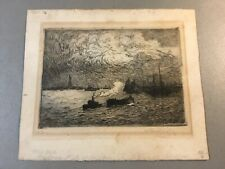 Antique Engraving of NEW YORK HARBOR ca. Late 19th C, SIGNED/NUMBERED 2/50