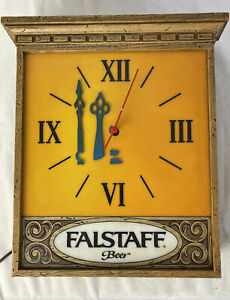 Rare 1960's Vintage Falstaff Beer Old Bar Lighted Clock Light Box Sign Works