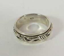 Size 13 Band Ring Spin Spinner .925 Sterling Silver Large Mens Jewelry Fidget