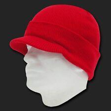New Red Ski Visor Beanie Hat Cap Knit Skull Winter Jeep Snowboard Hats Beanies