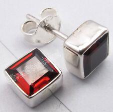 """925 Silver FIERY GARNET Square Wonderful Fashionable New Studs Earrings 0.3"""""""