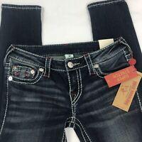True Religion Jeans Womens Size 28 Stretch Stella Skinny Jeans Dark Blue NWT