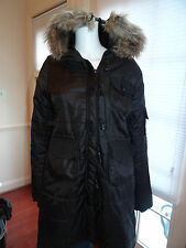 Tulle Womans Parka with Faux Fur hood Size  M