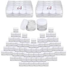 Beauticom® (60 PCS) 7G/7ML Clear Plastic Refillable Jars with White Lids