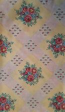 Coupon tissu patchwork jaune motifs bouquet de fleurs