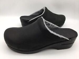 Dansko Women's Sonja Black Oiled Mules Shoes Clogs Size 40 / 9.5 - 10 US